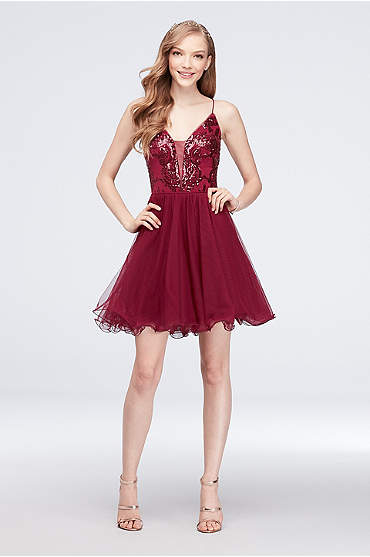 Sequin and Mesh Fit-and-Flare Short Dress