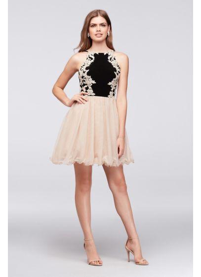 Short Ballgown Halter Military Ball Dress - Blondie Nites