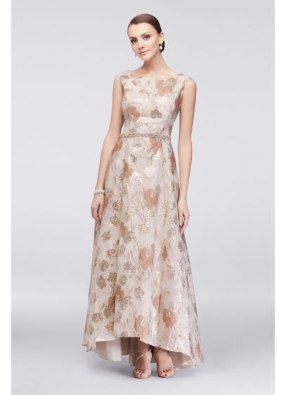 Brocade Tea Length Dress With Crystal Belt Davids Bridal