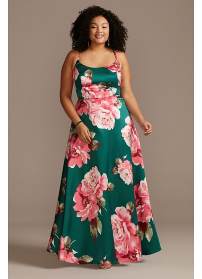 Floral Mikado Spaghetti Racerback Plus Size Gown - A floral print always stands out from the