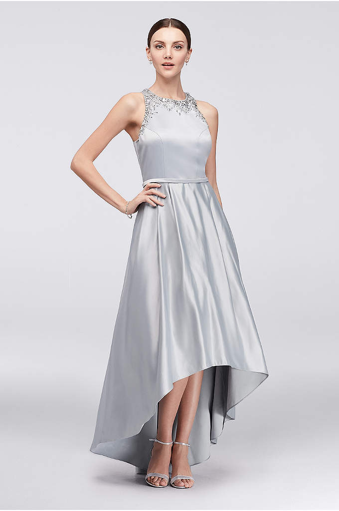 Beaded Satin High-Low Ball Gown - Elegant beading at the high neckline and arms