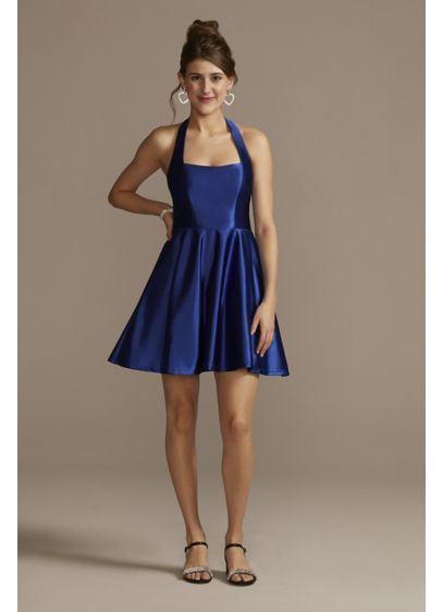 Satin Halter Mini Dress with Square Neck - This mini halter dress features the perfect amount