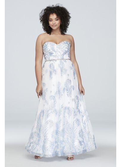 6180c4a0f161 Strapless Glitter Brocade Tulle Plus Size Gown | David's Bridal