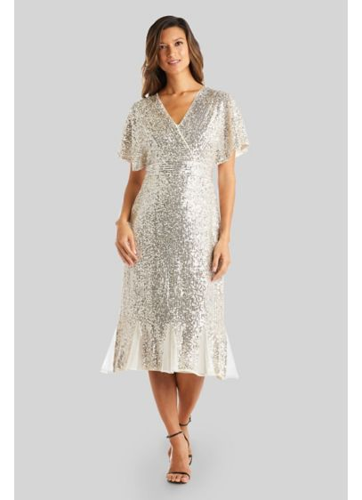 Allover Sequin Wrap Midi Wedding Dress with Godets - Sparkly, stylish and comfortable, this faux-wrap midi wedding