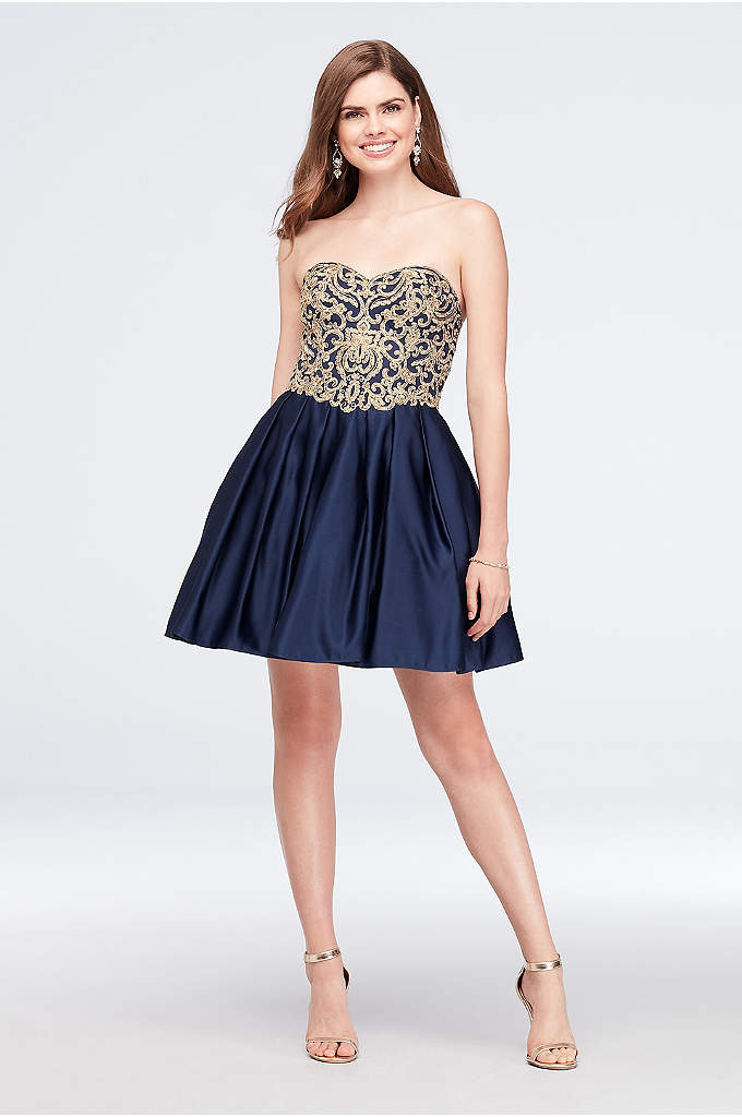 Appliqued Satin Fit-and-Flare Sweetheart Dress - Gorgeous gold appliques scroll across the sweetheart bodice