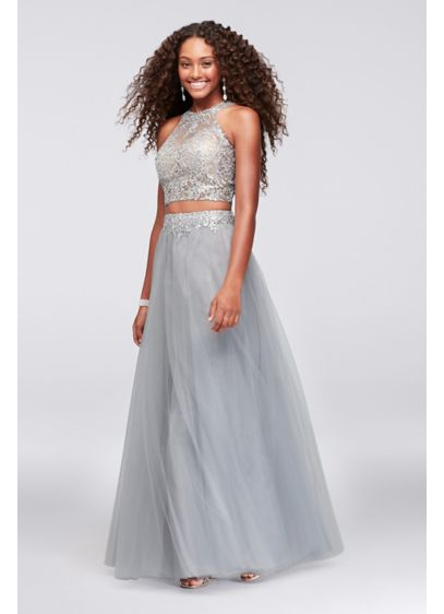 Long Ballgown Halter Cocktail and Party Dress - Cachet