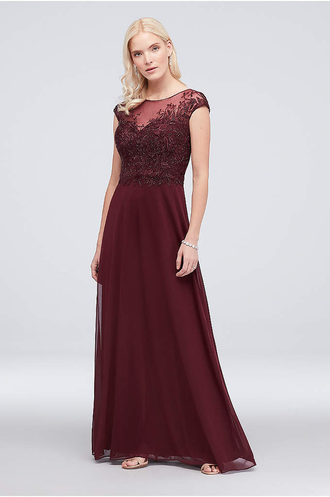 Embroidered Short Sleeve Jersey Chiffon Dress A Beautifully Detailed For The Mother Of