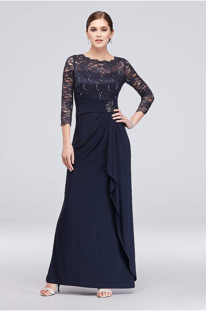 Long-Sleeve Lace and Jersey Cascade Dress - A brooch-topped ruched waist and a drapey jersey