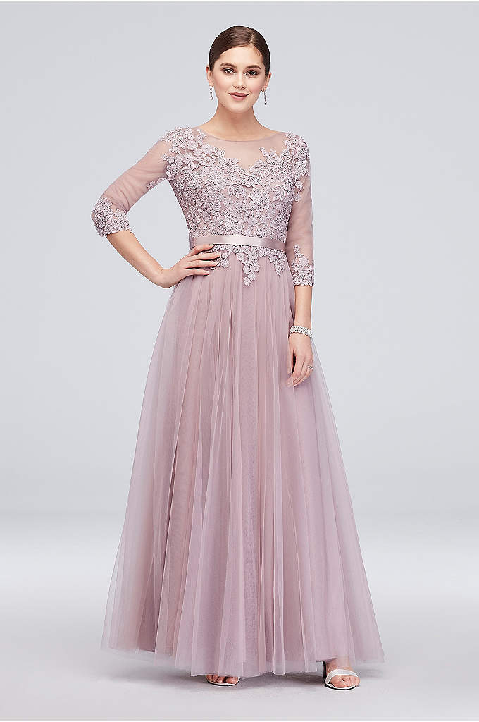 3/4 Sleeve Embroidered Lace and Tulle Ball Gown - Lovely embroidered lace tops the three-quarter illusion sleeve