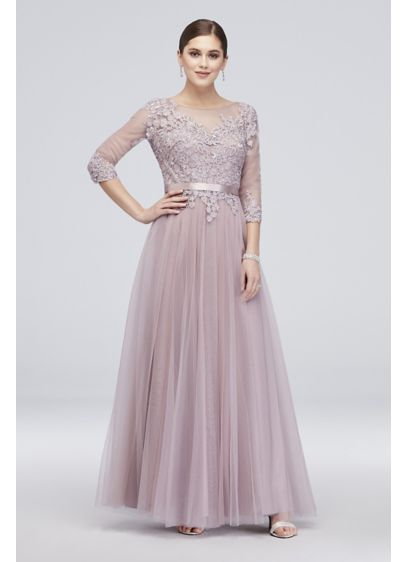 Long Ballgown 3/4 Sleeves Cocktail and Party Dress - Cachet