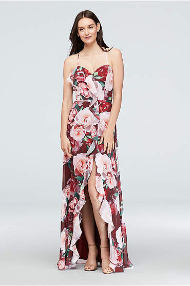 Floral Chiffon Wrap Dress with Cascading Ruffle