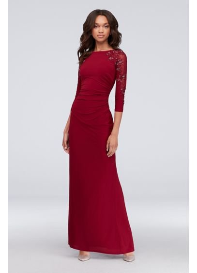 3/4-Sleeve Boatneck Sheath Gown with Sequins - Get a gracefully regal look with this long