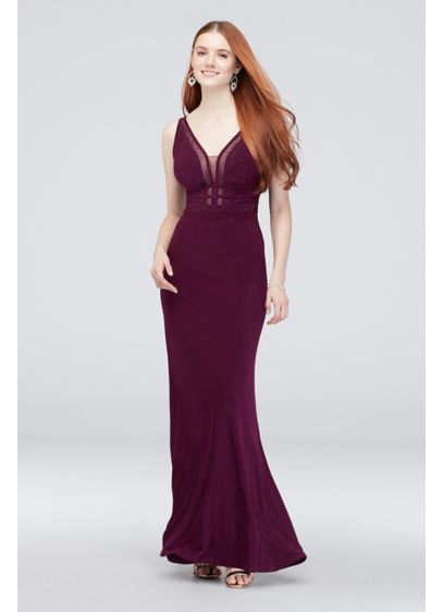 Illusion and Gem-Embellished Matte Jersey Gown - Stylish and sleek, a silky skirt meets a