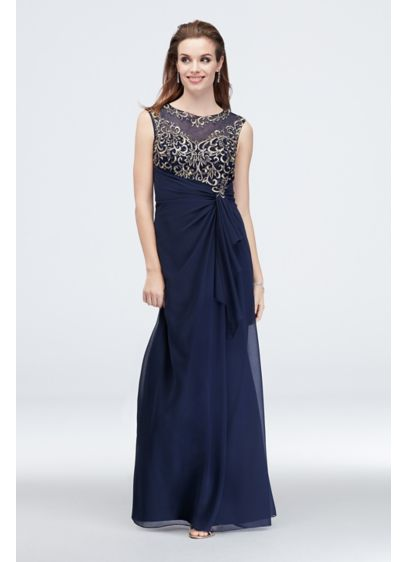 Metallic Embroidered Cap Sleeve Sheath Dress - Metallic embroidery glows from the bodice of this