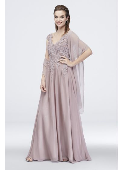 Corded Floral Lace Cap Sleeve Chiffon A-Line Dress - This stunning A-line dress is crafted of flowy