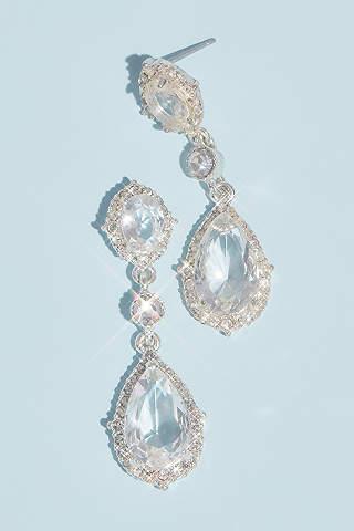 Aretes de Filigrana Con Cristal en Gota