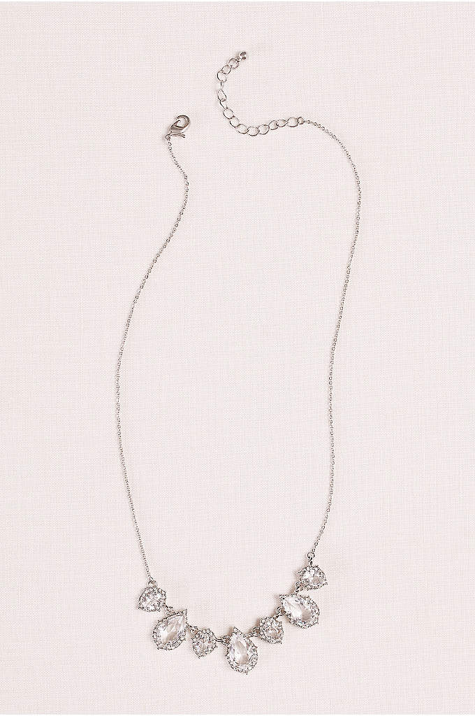 Crystal PearShaped Pendant and Pave Necklace - Seven pendants glisten in a row on this
