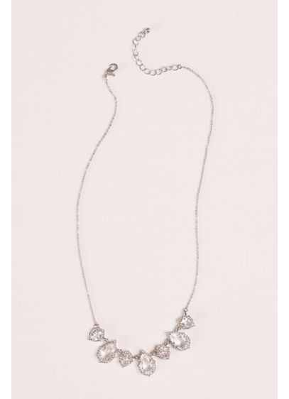 Crystal Pear  Shaped Pendant and Pave Necklace - Wedding Accessories