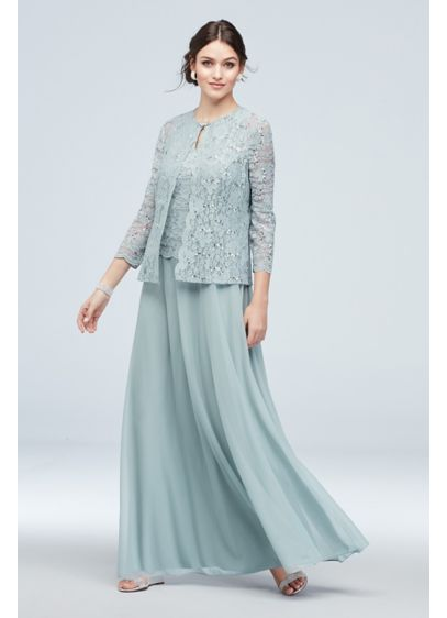 Three-Piece Chiffon Skirt and Lace Sweater Set - For a look that says classically elegant: a