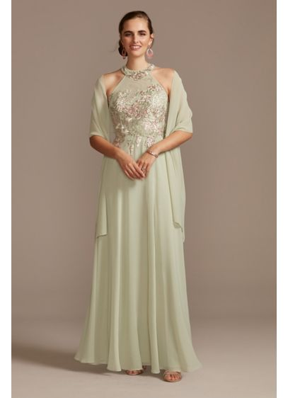 Illusion High Neck Floral Embroidered Chiffon Gown - Ornate floral embroidery embellishes the high neckline and