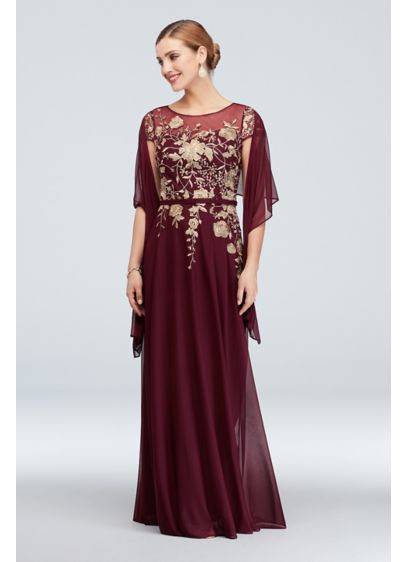 Metallic Floral Illusion Cap Sleeve Gown and Shawl - A cap sleeve illusion neckline transforms into a