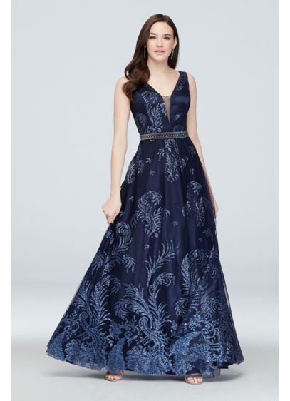 Belted Tulle Glitter Brocade Gown with Deep V-Neck - So bold and so beautiful, this glittering brocade