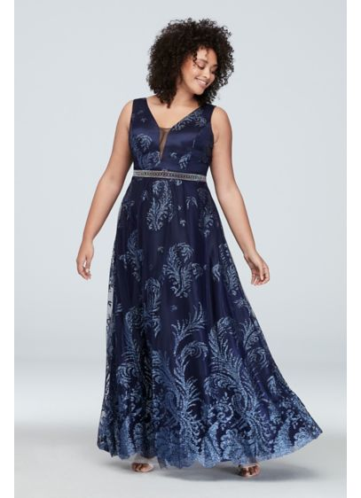 Belted Glitter Brocade Plus Size Gown with V-Neck - So bold and so beautiful, this glittering brocade,