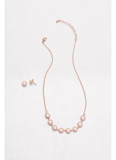 David's Bridal Pink (Pearl Halo Necklace and Earrings Set)