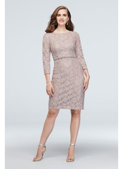 Glitter Lace 3/4-Sleeve Cocktail Dress with Belt - A beaded belt wraps this glitter lace cocktail