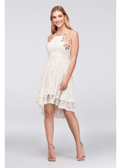 High-Low Tiered Lace Dress with Floral Embroidery - Pretty floral appliques and a tiered, high-low hemline