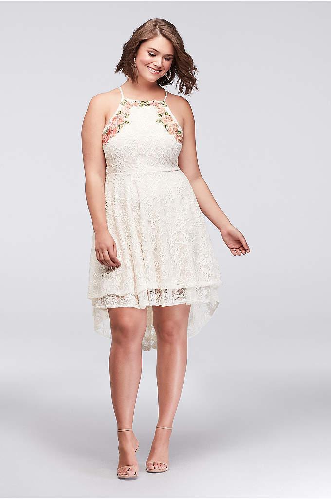 Short Lace Plus Size Dress with High-Low Hem - Swingy lace tiers show off a high-low hem,