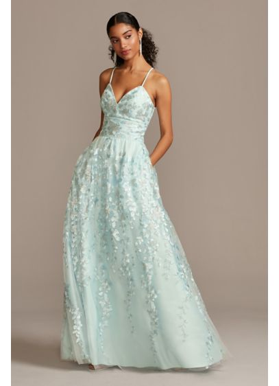 Floral Embellished Spaghetti Strap Lace-Up Gown - Embroidered floral blooms accented with metallic sequins adorn