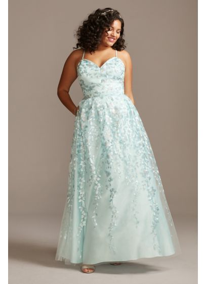 Floral Spaghetti Strap Lace-Up Plus Size Gown - Embroidered floral blooms accented with metallic sequins adorn