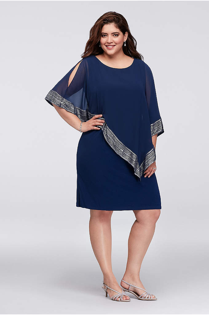 Chiffon and Jersey Dress with Foil-Trim Capelet - This easy jersey shift dress is topped with