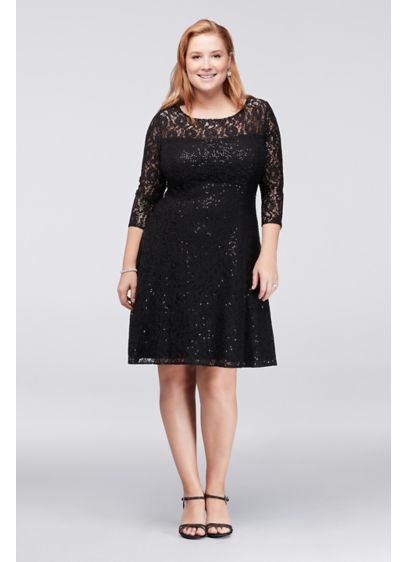 Sequined Lace Plus Size Dress | David\'s Bridal