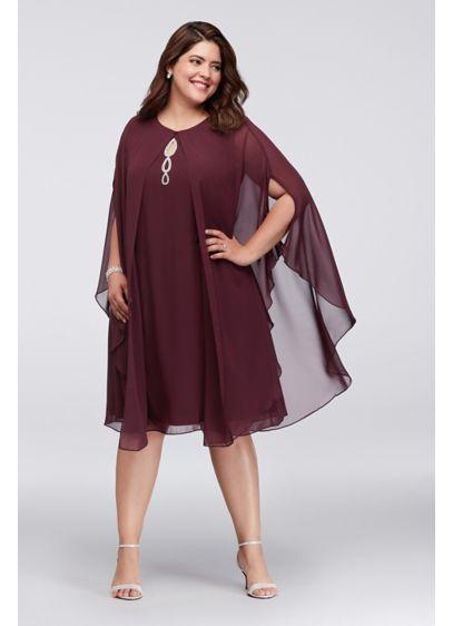 Crystal Keyhole Chiffon Plus Size Dress with Cape   David\'s ...