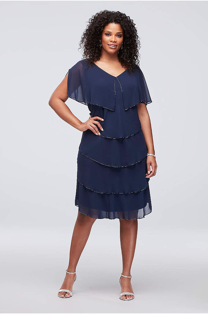 Tiered Chiffon Plus Size Short Sheath with Beading - This short plus-size sheath dress is crafted of