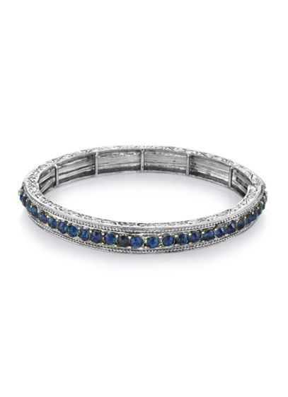 Two-Tone Gemstone Crystal Stretch Bracelet - Wedding Accessories