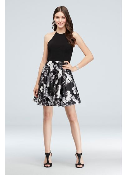 Jersey and Charmeuse Tie-Neck Short Halter Dress - A party-ready fit-and-flare dress featuring a jersey tie-back