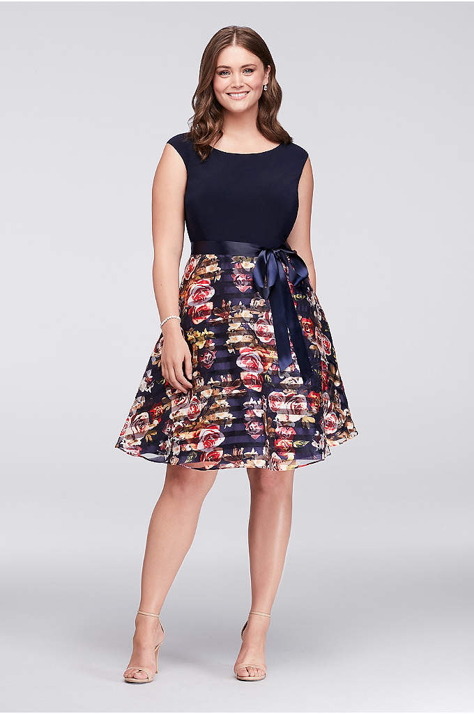 Jersey and Striped Floral Organza Plus Size Dress - Made for twirling, this plus-size party dress features
