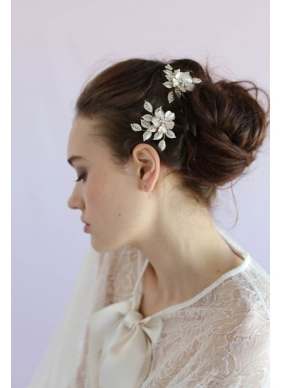 Crystal Speckled Blossom and Leaf Hair Pin Set - This charming pair of hair pins is ornamented