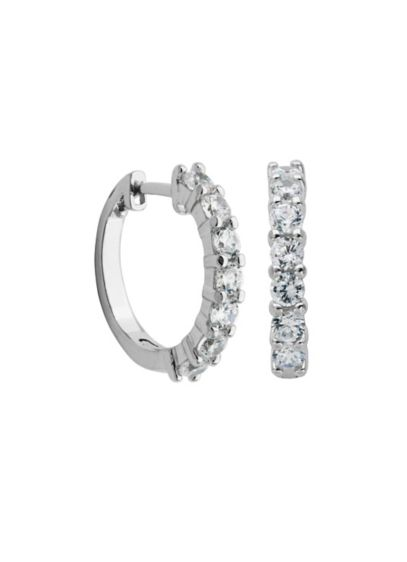Sterling Silver and Cubic Zirconia Huggie Hoops - Wedding Accessories