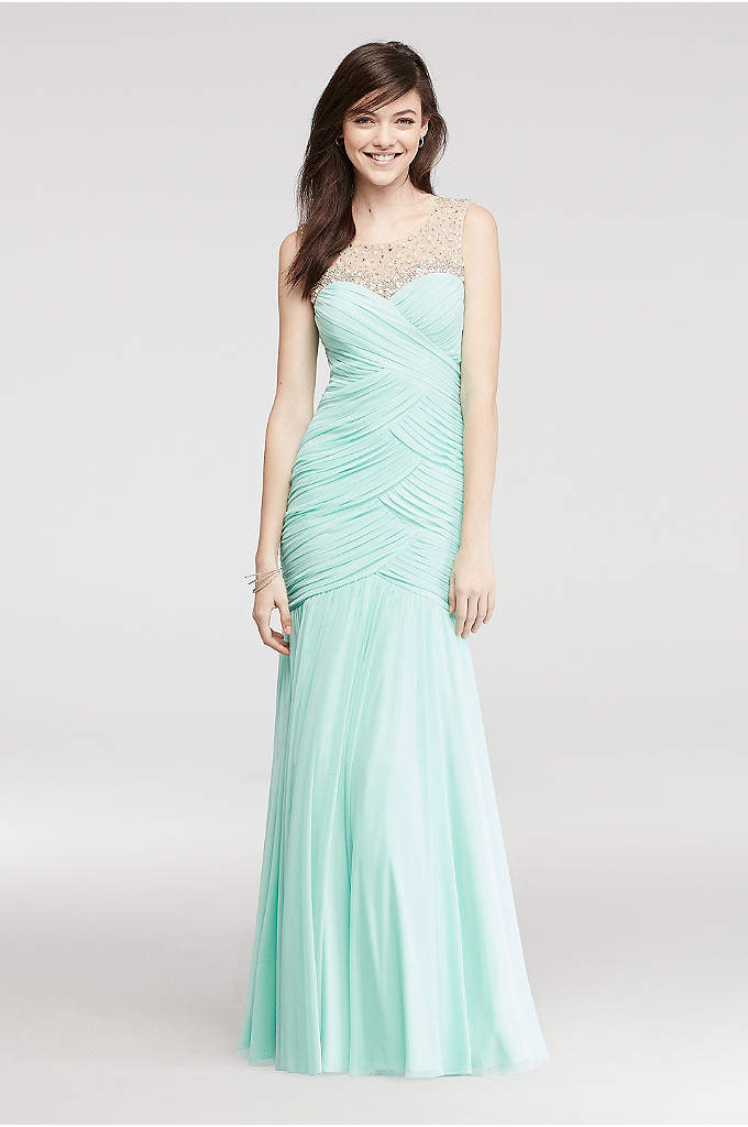 Mermaid Prom Dress with Beaded Illusion Tank