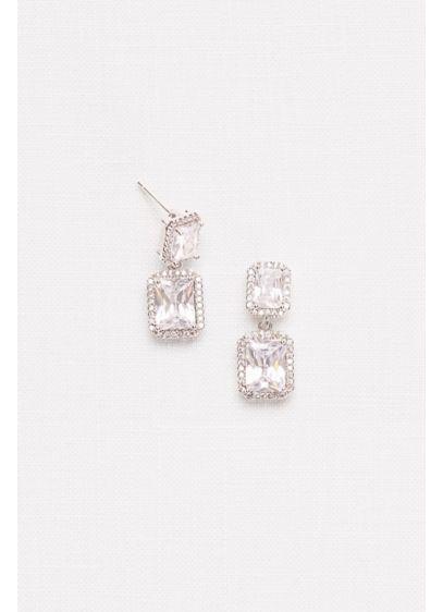 David's Bridal Grey (Radiant-Cut Cubic Zirconia Halo Drop Earrings)