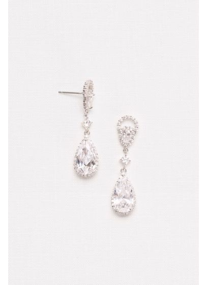 Marquise and Pear Cubic Zirconia Drop Earrings - Wedding Accessories