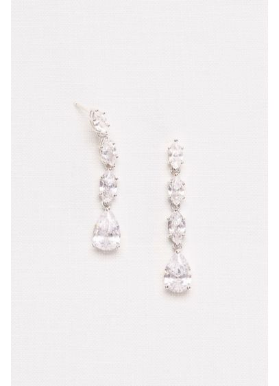Cubic Zirconia Halo Teardrop Earrings - Wedding Accessories