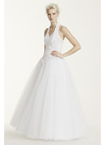 Tulle Wedding Dress with Beaded Halter Bodice | David\'s Bridal