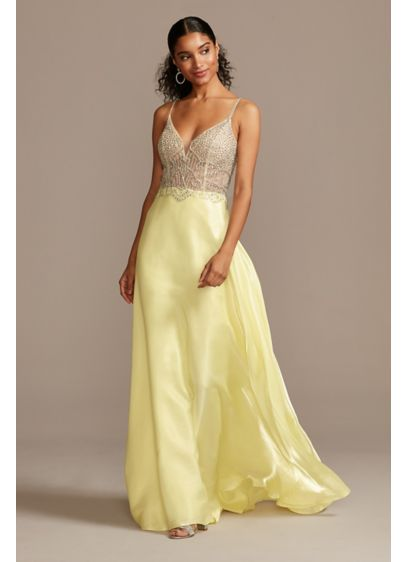Crystal Embellished Illusion Bodice Satin Gown - Flirty and festive, the illusion bodice of this