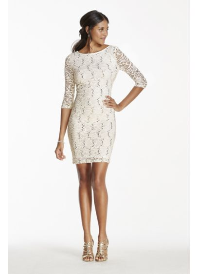 2e11e897a0 White V Neck Long Sleeve Backless Lace Dress 026517. Short Sheath Long  Sleeves Tail And Party Dress Onyx. 3 4 Sleeve Short Lace Dress With Sequins  David S ...