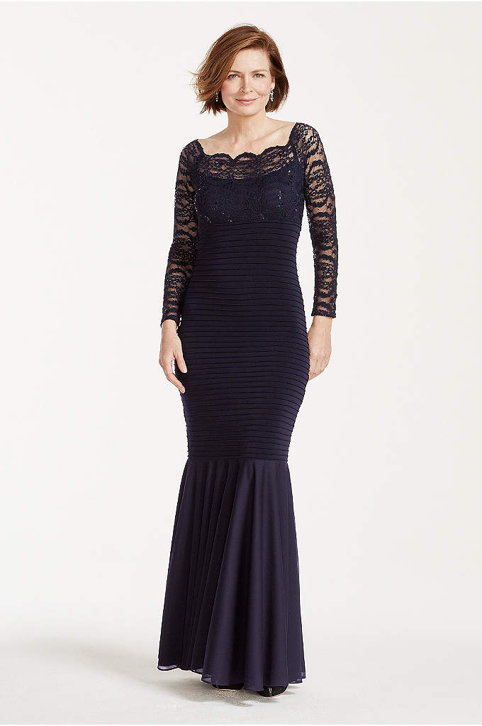 Long Sleeve Banded Glitter Lace Dress